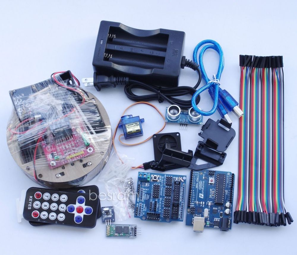 Arduino Robot Smart Car KIT UNO R3 Wireless Control Starter Study L298N Shield kt001 arduino uno r3 starter kit