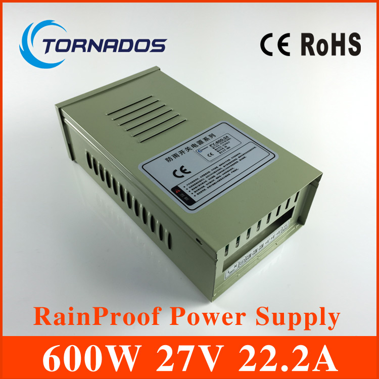 <font><b>27V</b></font> 600W Rainproof Switching Power Supply AC-DC Universal Regulated 110V or 220V outdoor <font><b>Adapter</b></font> For LED Strip light FY-600-27 image
