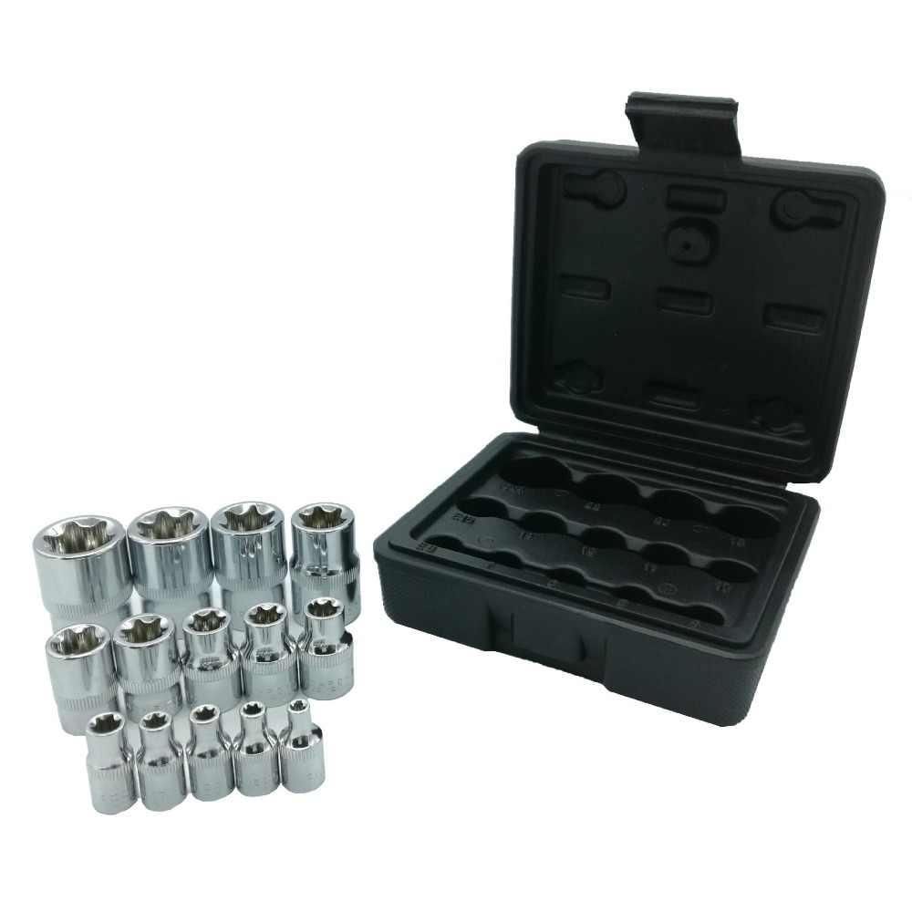 """Milda nuevo 14 unids/set E Torx Star hembra Bit Socket Set 1/2 """"3/8"""" 1/4 """"Drive E4-E24 herramienta de reparación manual set de alta calidad"""