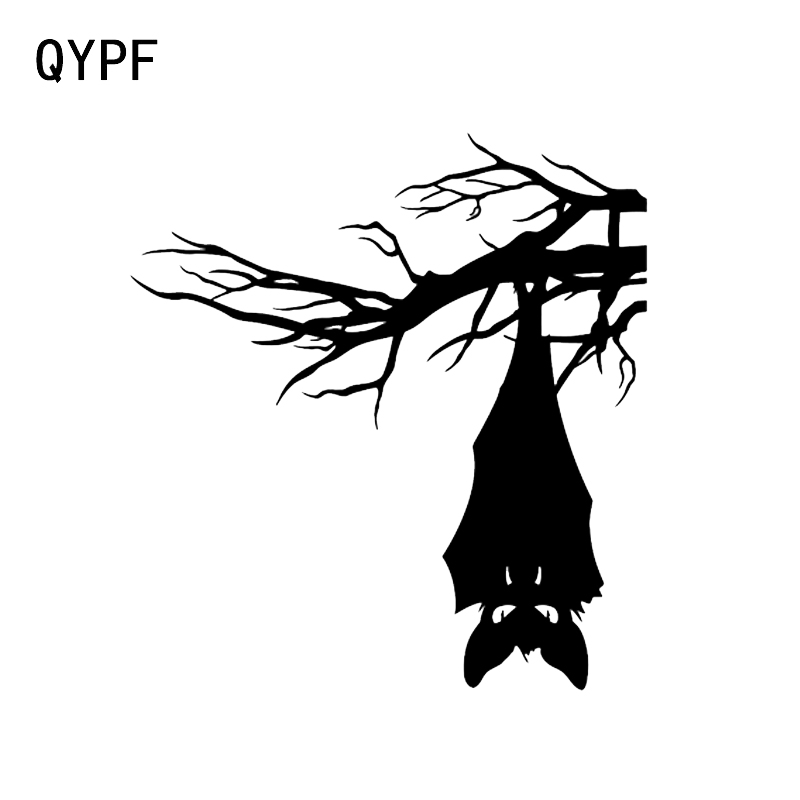 QYPF 13.5*14.5 Coolest Bats Tree Decor Vinyl Car Sticker Silhouette Bumper Window C16-2404