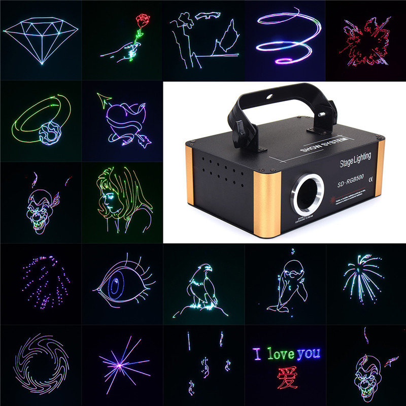 20W 200 Patterns RGB Stage Laser Lighting Lamp DIY Pattern For SD Card  Display Disco Laser Light Lamp For KTV Pub Party