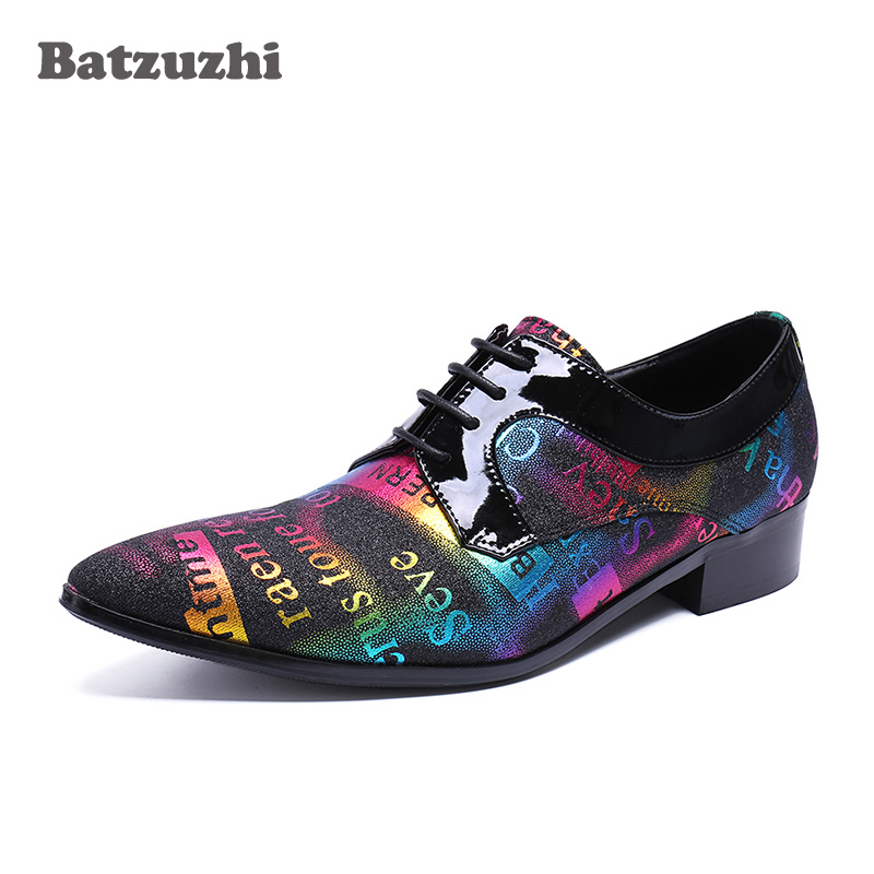 Batzuzhi Italian Men Shoes Designer's Leather Dress Shoes Men Pointed Toe Lace-up Color Oxford Shoes for Men Wedding and Party сварочный аппарат foxweld корунд 170 мини