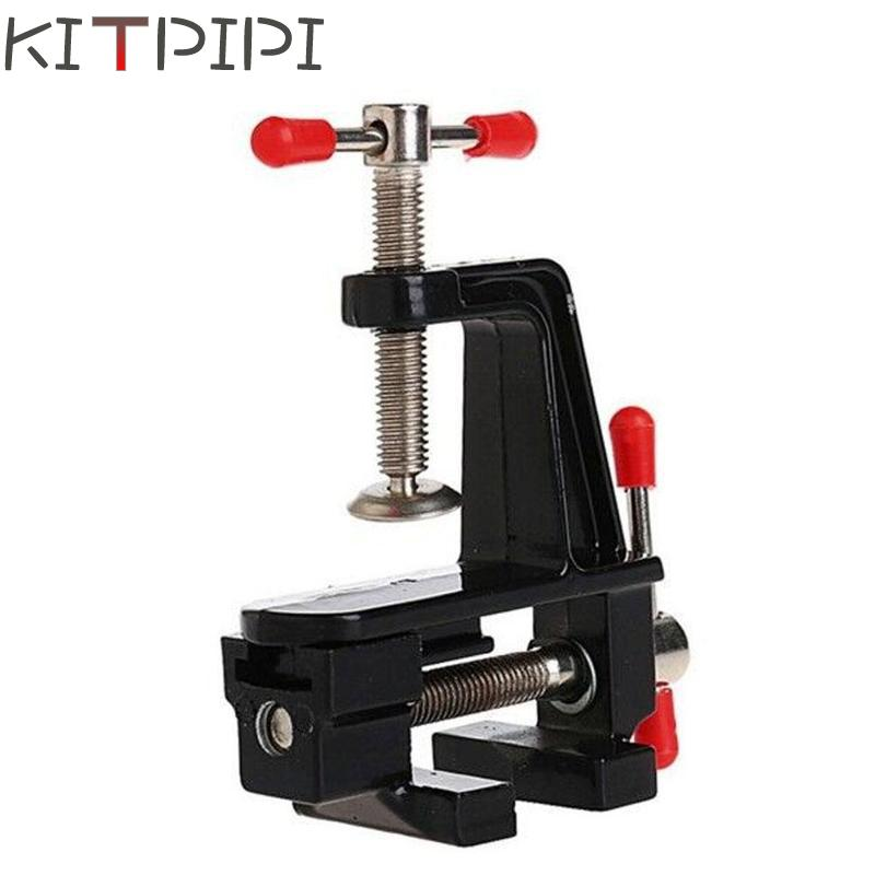 KITPIPI 3.5 Inch Aluminum Miniature Small Jewelers Hobby Clamp On Table Bench Vise Mini DIY Craft Tool Vice Fixed Repair Tool free shipping aluminum alloy table vice mini bench vise diy tools swivel lock clamp vice craft jewelry hobby vise jaw width 40mm