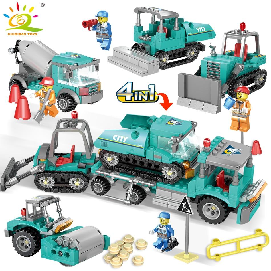 HUIQIBAO TOYS 462pcs 4in1 Engineering Construction Excavator Trucks Building Blocks For Children Compatible Legoed City Bricks