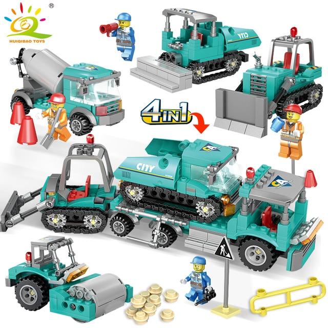 HUIQIBAO TOYS 462pcs 4in1 Engineering Excavator Tow Truck Building Blocks For Children City Mixer Construction Legorreta Bricks