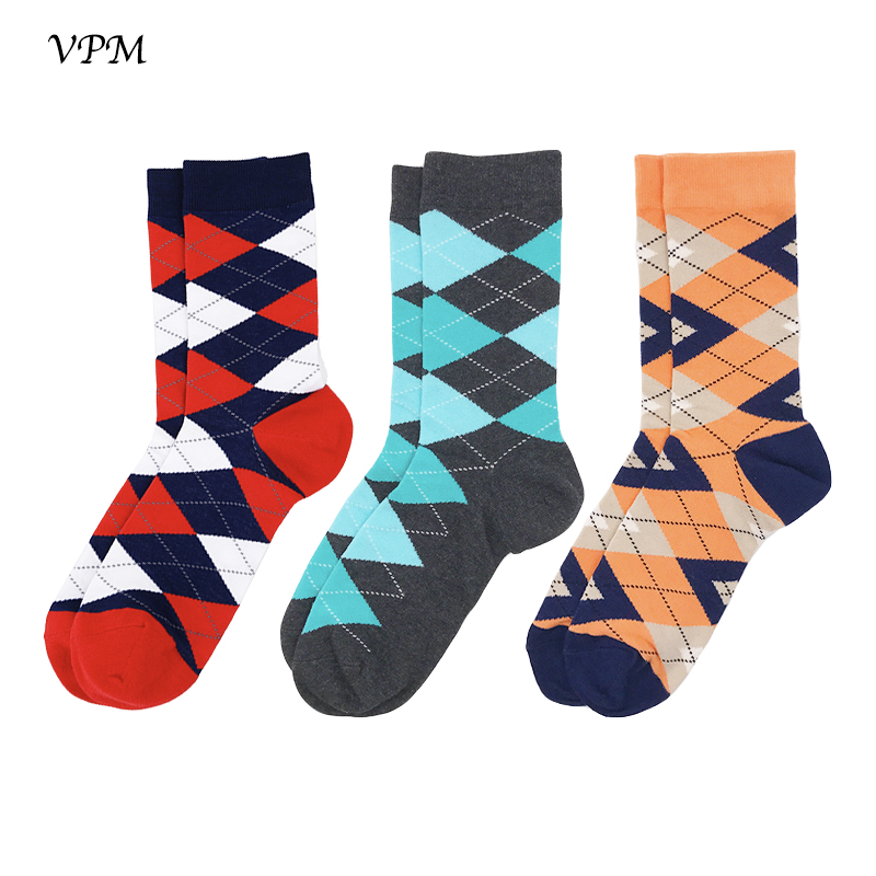 VPM 3 Pairs/Lot Men Brand Wedding Gift Bright Colored Striped Socks For Men