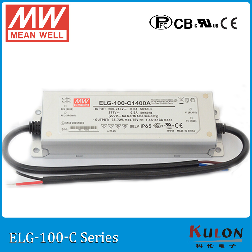 Original MEAN WELL ELG-100-C1400A current adjustable LED driver 700~1400mA 35~72V 100W PFC waterproof power supply ELG-100-C 90w led driver dc40v 2 7a high power led driver for flood light street light ip65 constant current drive power supply