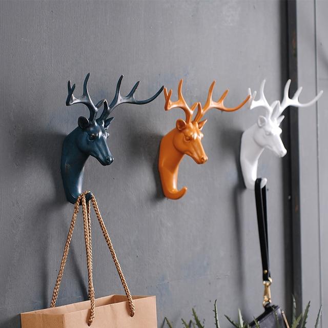 American Creative Deer Head Animal Decorative Hook Coat Retro Clothes Hanging Three Dimensional Porch