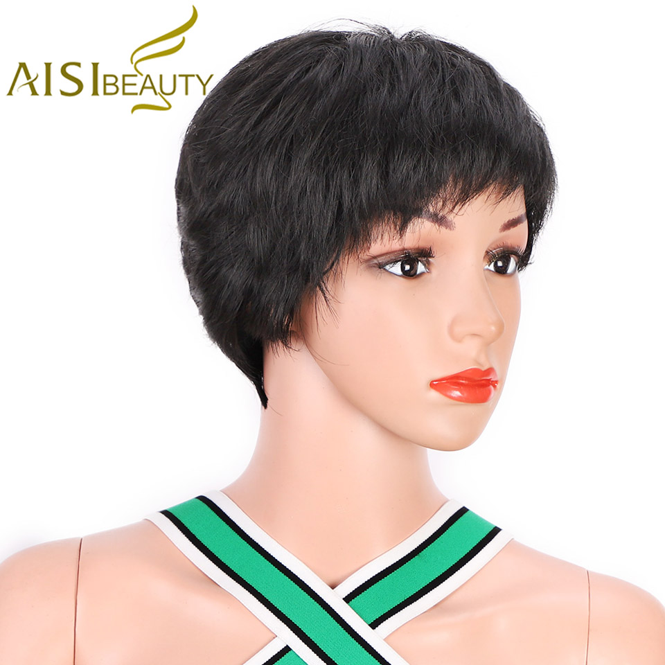 Short Black Wigs for Women Natural Synthetic Red Pixie Cut Wig Costume Cosplay Party Hair Wig Brown Heat Resistant AISI BEAUTY