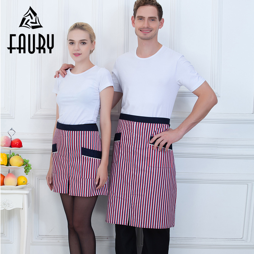 Men Women Couple Striped 2 Pockets Spliced Color Kitchen Cooking Wear Uniforms Chef Waiter Waitress Cafe Restaurant Work Aprons