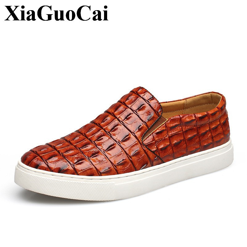 Plus Size New Fashion Loafers Men Casual Shoes Crocodile Pattern High Quality Comfortable Round Toe Slip-on Flat Shoes H674 high quality 2016 new brand aqua two shoes men boat shoes full grain leahter loafers shoes for men us5 5 10 casual shoes men