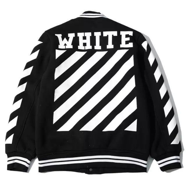 1bda369150bc OFF WHITE C O VIRGIL ABLOH varsity jacket men clothes college baseball  letterman outerwear mens jackets high quality coat-in Jackets from Men s  Clothing on ...