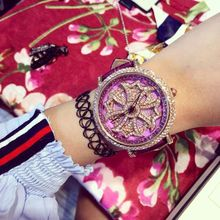 Zircon Wristwatches Quartz-Watches High-Grade Real Leather Women's Watches Luxury Real Leather Full Diamond Stars