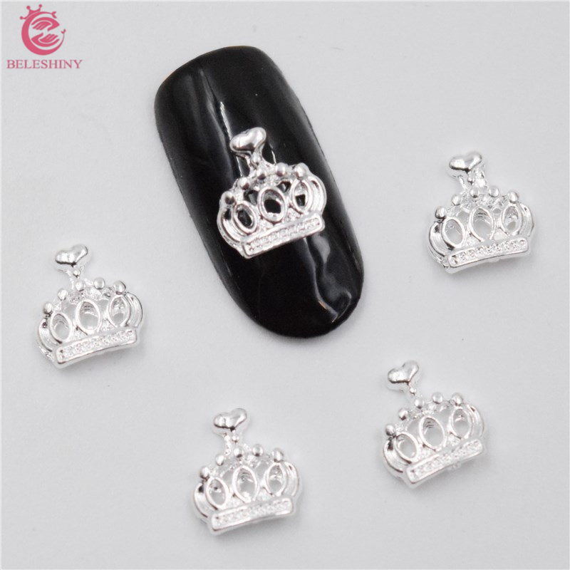50Pcs new Silver crown nail stickers, 3D Metal Alloy Nail Art Decoration/Charms/Studs,Nails 3d Jewelry nail supplies BY003 blueness 10pcs 3d nail art rhinestone decoration glitter nails tips silver crown charm jewelry nail studs tools wholesales tn550