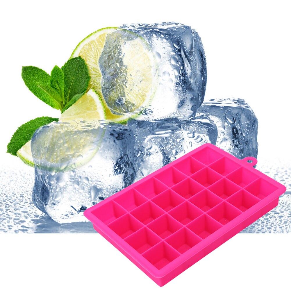ᗚGrande silicona Ice Cube Tray cuadrado forma cubo de hielo molde ...