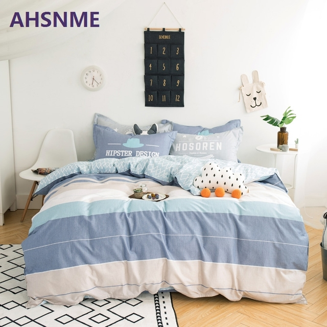 AHSNME 100% Cotton Bedding Items Europe Russia Australia United States size Striped pattern Small fresh style duvet cover Bed