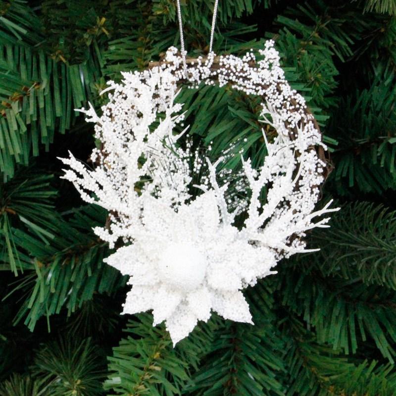 Christmas Wreath Wooden Christmas Decoration for Home White Flower Grand Tree Christmas Gift Xmas Ornament Pendant Navidad 2018
