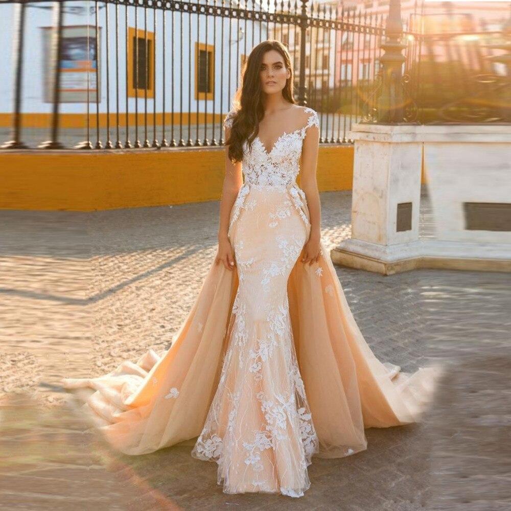 Champagne Color Wedding Dresses Vestidos De Noiva 2017: Vestido De Noiva New Luxury Wedding Dress 2019 Scoop Cap