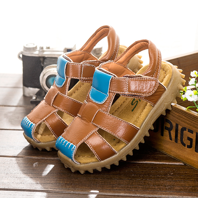 New summer kids shoes brand closed toe toddler boys sandals orthopedic sport pu leather baby boys sandals shoes