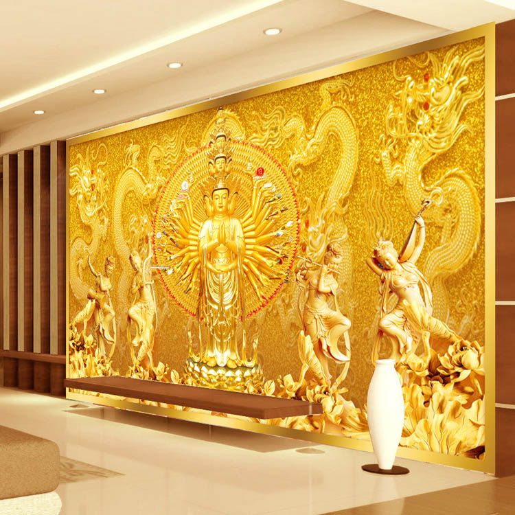 Buy gold buddha photo wallpaper custom 3d for Gold wallpaper for walls