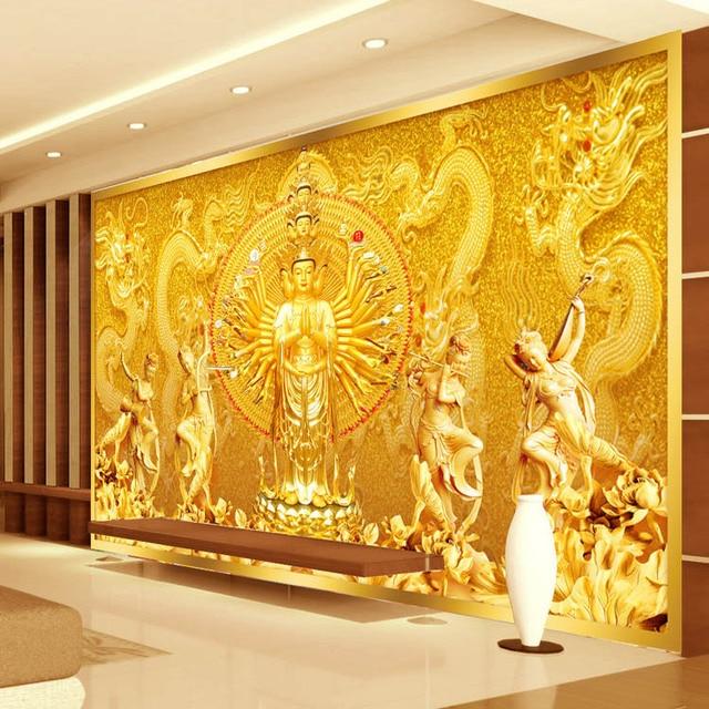 Gold buddha fototapete benutzerdefinierte 3d wandbild avalokitesvara tapete schlafzimmer - Schlafzimmer buddha ...