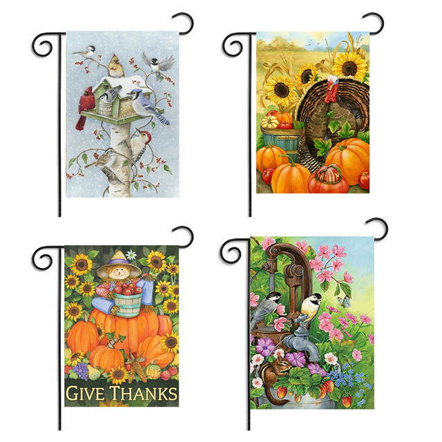 garden banners. Lovely Cartoon Design Garden Flag Hot Thanksgiving Banners Retro Style Banner Home Decoration S