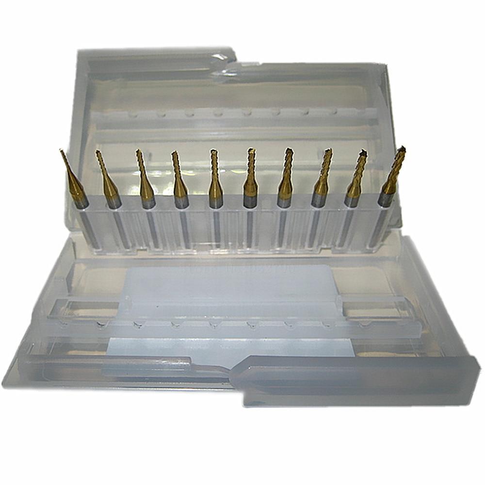 10pc Titanium Coat Carbide 0.8-2.0mm Pcb Carbide Tools Cnc Cutting Bits Millinging Cutters 3.175mm For Engraving Milling Machine