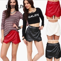 2 Color European Style Brand Nice Elastic Pu Short Pants Girl Shorts Women Irregular Short Skirts Fashion Trousers Culottes