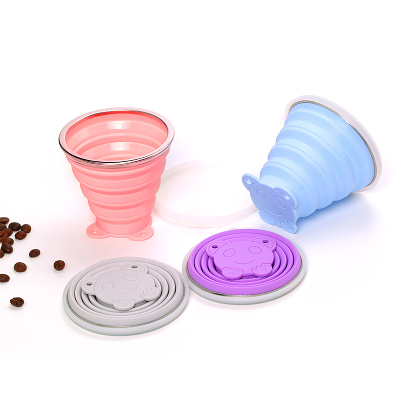 Nieoqar Portable Folding Cup Collapsible Mug Silicone Pop Up Cup Outdoor Travel Tool Kit Hiking Camping Equipment with Lid