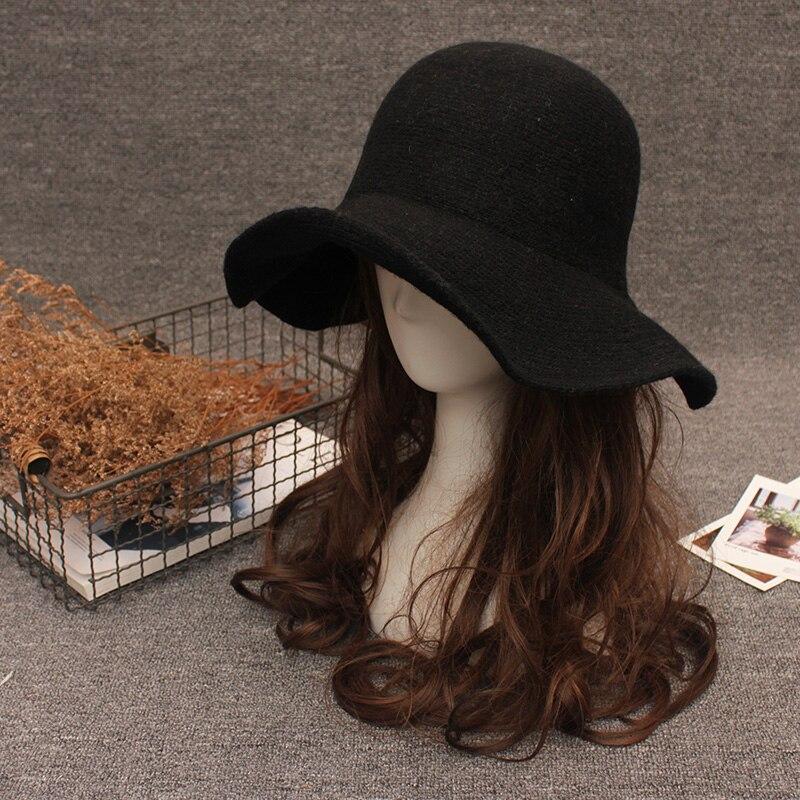b2e7d5eef New Elegant Sheep Wool Cap Knitting Big Brim Fedora Hat Winter Thick Female  Fashion Winter Hat Accessories