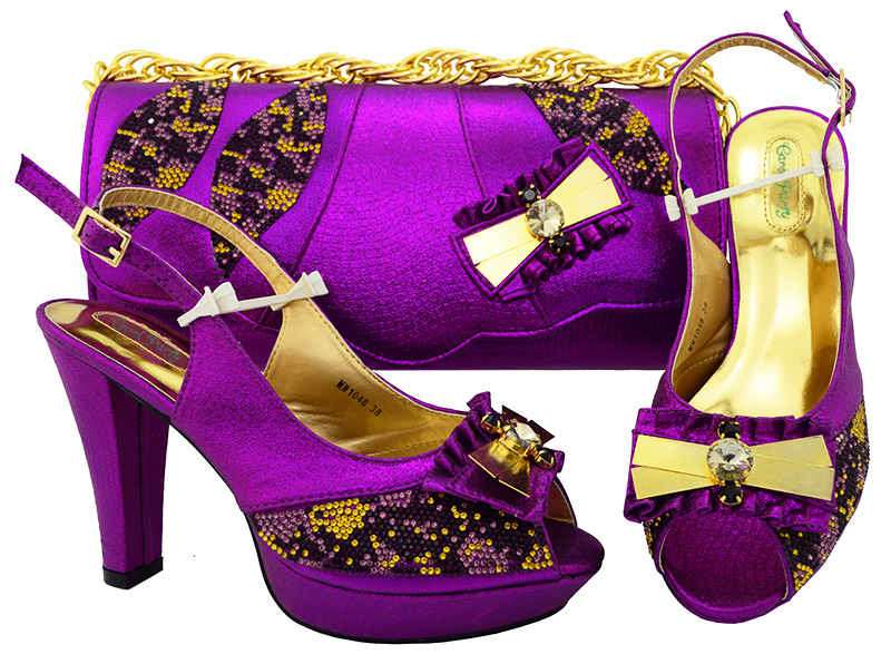 New Purple color Italian Style Shoes With Matching Bags African High Heel Women Shoes and Bags Set For Prom Party MM1048 aidocrystal luxury handmade crystal sunflower high heel women italian shoes with matching bags