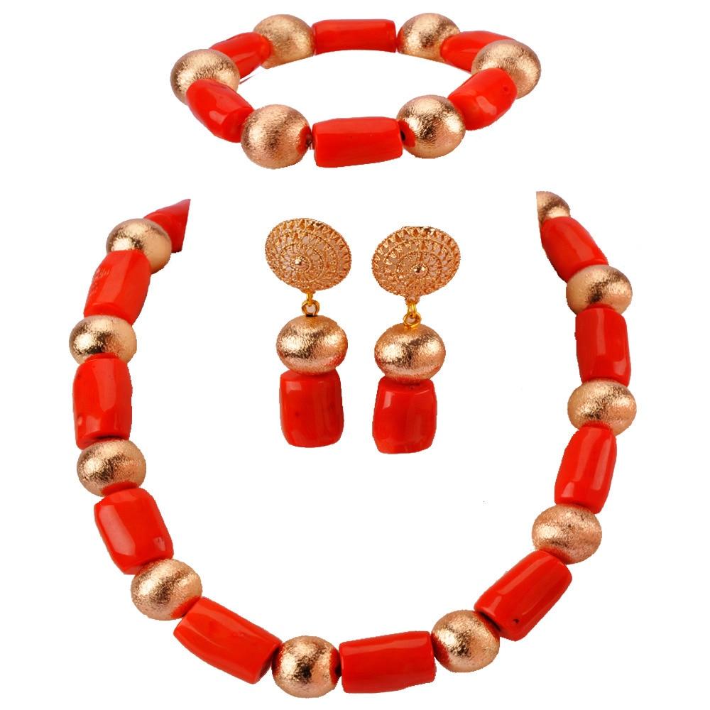 Perles de corail faites à la main femmes ensembles de bijoux ensemble de bijoux de Costume de mariée africaine RCBS25