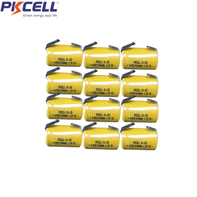 12Pcs PKCELL 1200mah Sub C SC 4/5sc 1.2V nicd Rechargeable Battery Flat Top With Tabs For Shaves And Emergency Lighting Radios