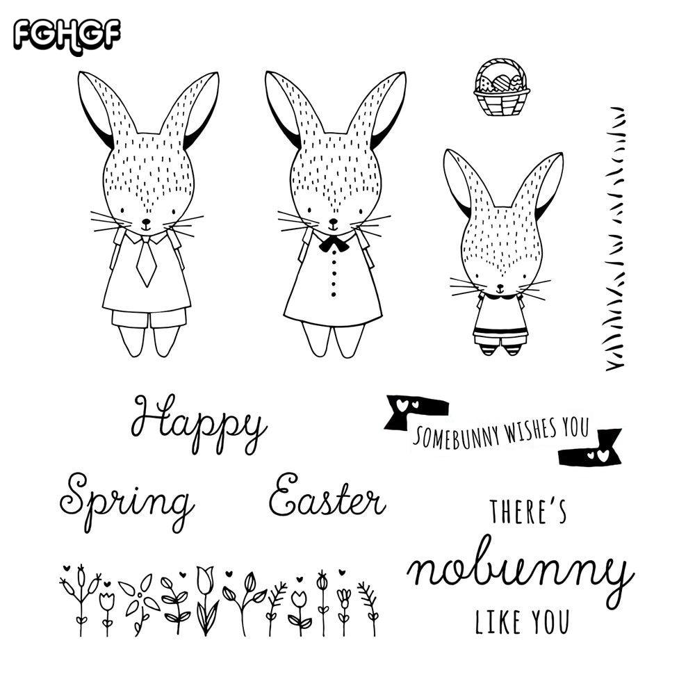 precioso conejo transparente sello de silicona transparente / sello - Artes, artesanía y costura