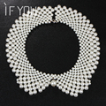 2016 New Fashion Elegant Charm Multilayer Imitation Pearl Collar Necklace Statement Women  Lace Wedding Necklaces Jewelry gift