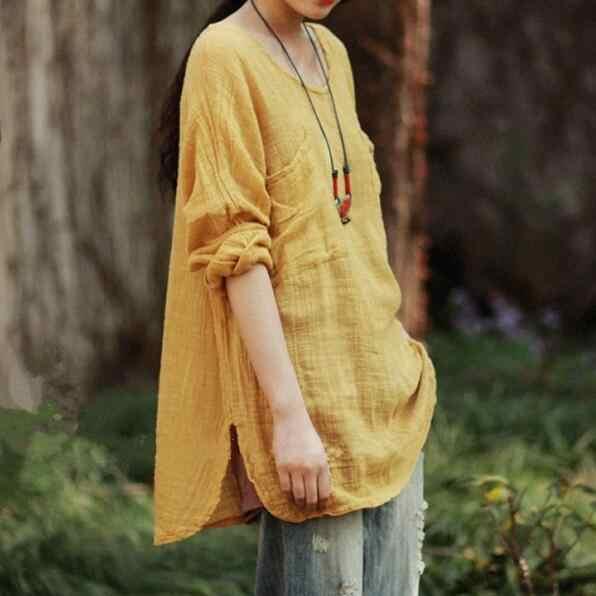 Vrouwen Blouses Geel Blusas Shirts Volledige Mouw Katoen Linnen Vrouwen Tops Vintage Casual Vrouwen Shirts AF44