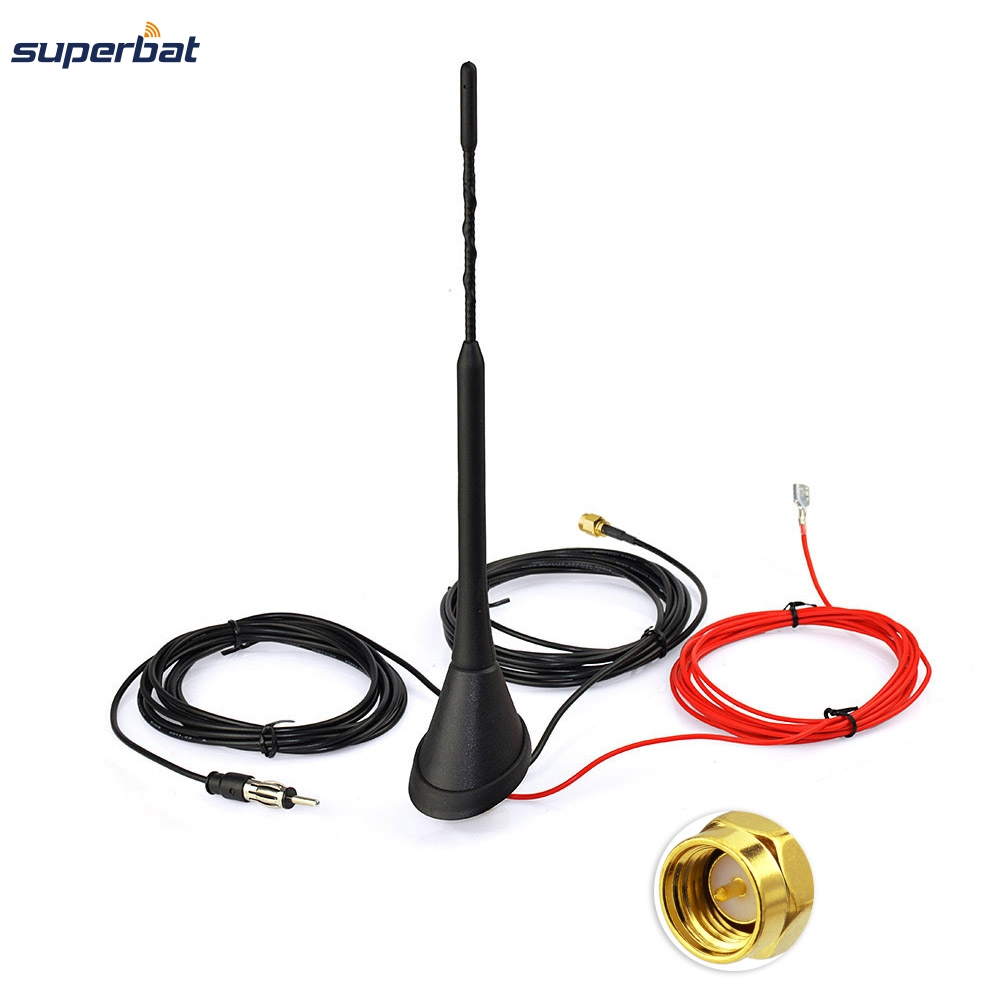 Superbat Car Antenna for DAB DAB+ AM/FM Radio Built-in Amplifier SMA Male Connector Universal Roof Mount Rod Antenna 5m Cable