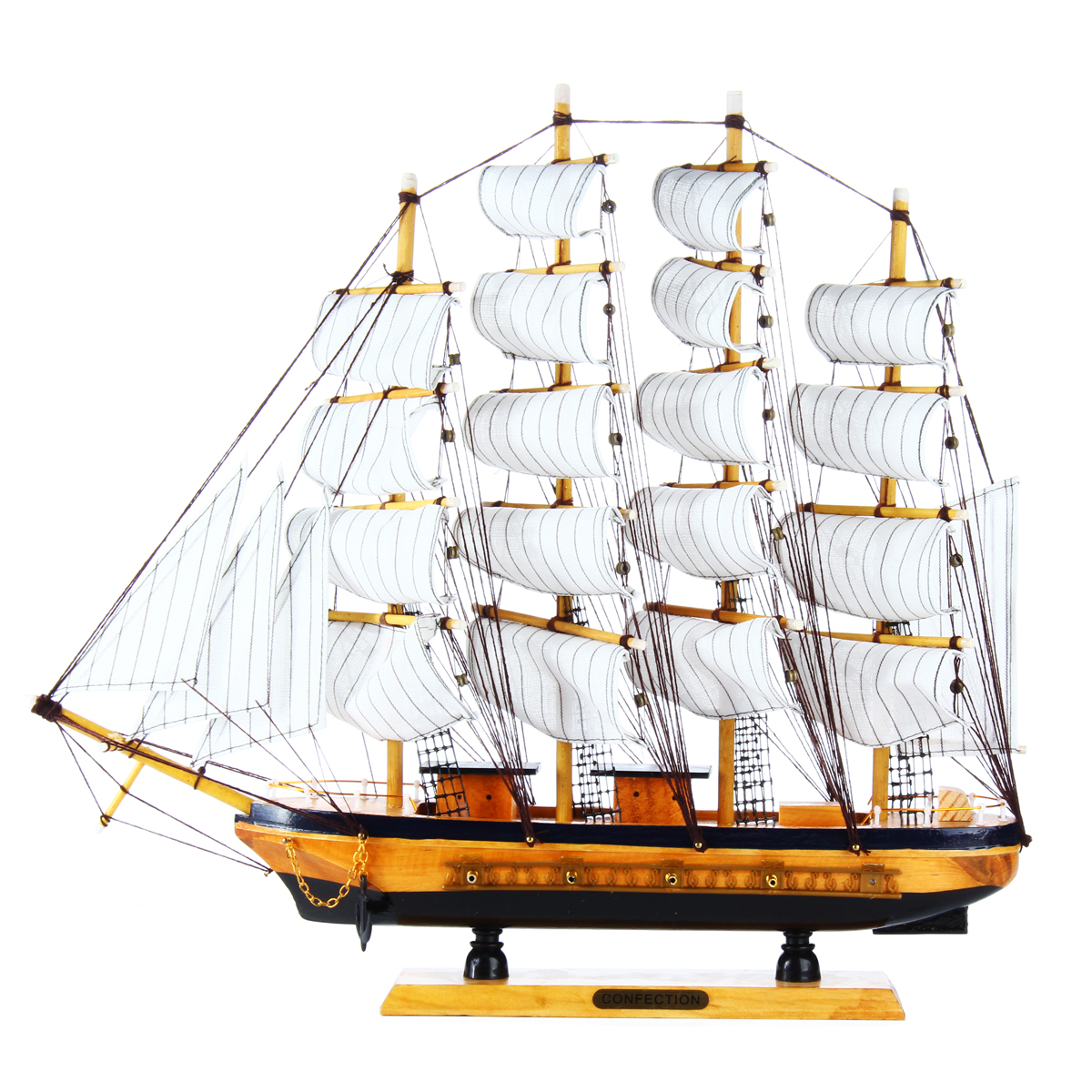 20 Ship Sailing Boat Sailboat Model Assembly Model DIY Kits Wooden Scale Boat Friend Gift Toy Plain Sailing Home Decor