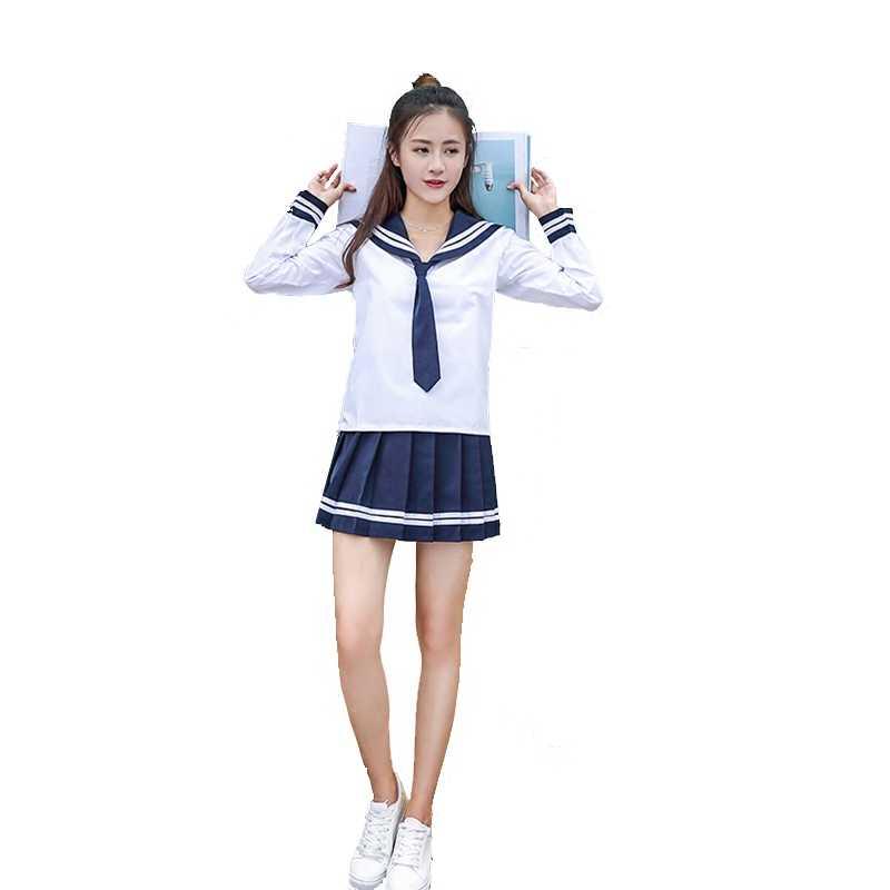 Женский школьная форма комплект 2018 Новый стиль Мода Красота японская девушка косплей для школьной формы костюм моряка два костюма