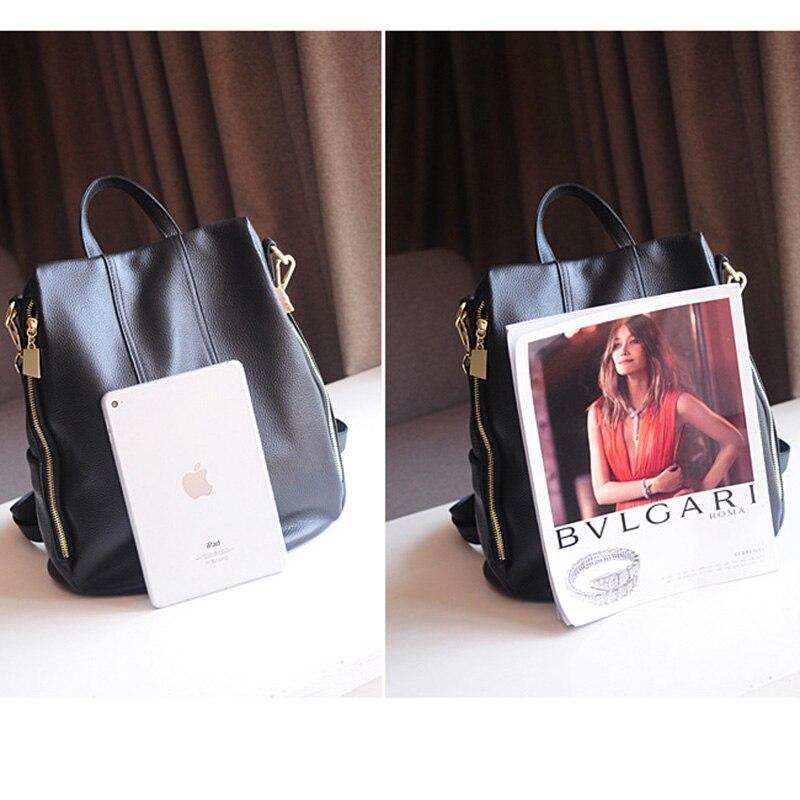 Nieuwe ontwerp vrouwen rugzak een tas met echt leer Hoge capaciteit Casual mode Portemonnee voor vrouwelijke Multi carry manier tas meisje pack-in Rugzakken van Bagage & Tassen op  Groep 2
