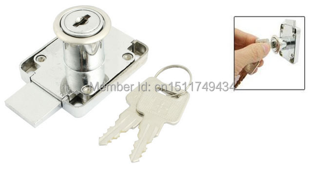 50mm x 40mm Funiture Fitting Rectangle Plate Glass Door Lock Silver Tone w Keys(China