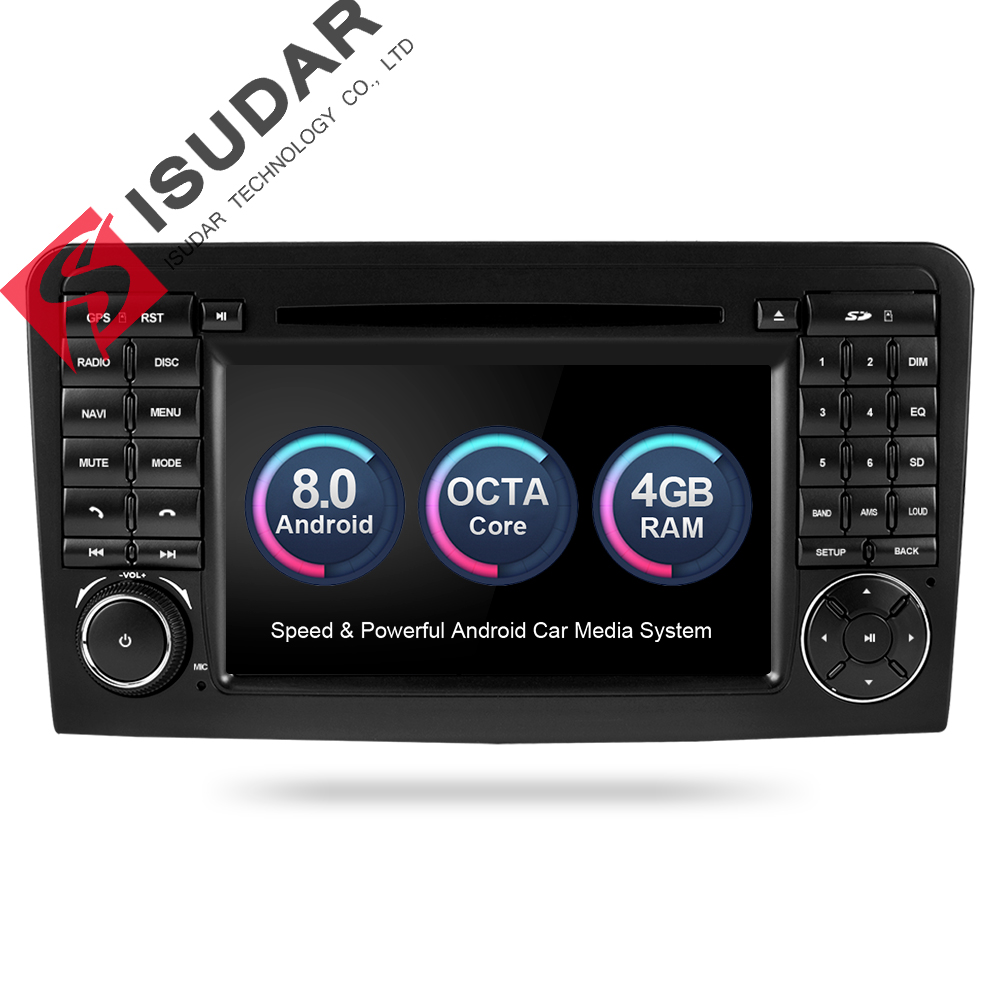 Isudar Voiture Multimédia Lecteur GPS Android 8.0 2 Din Pour Mercedes/Benz/GL ML CLASSE W164 ML350 4 gb RAM DSP Radio Microphone Wifi