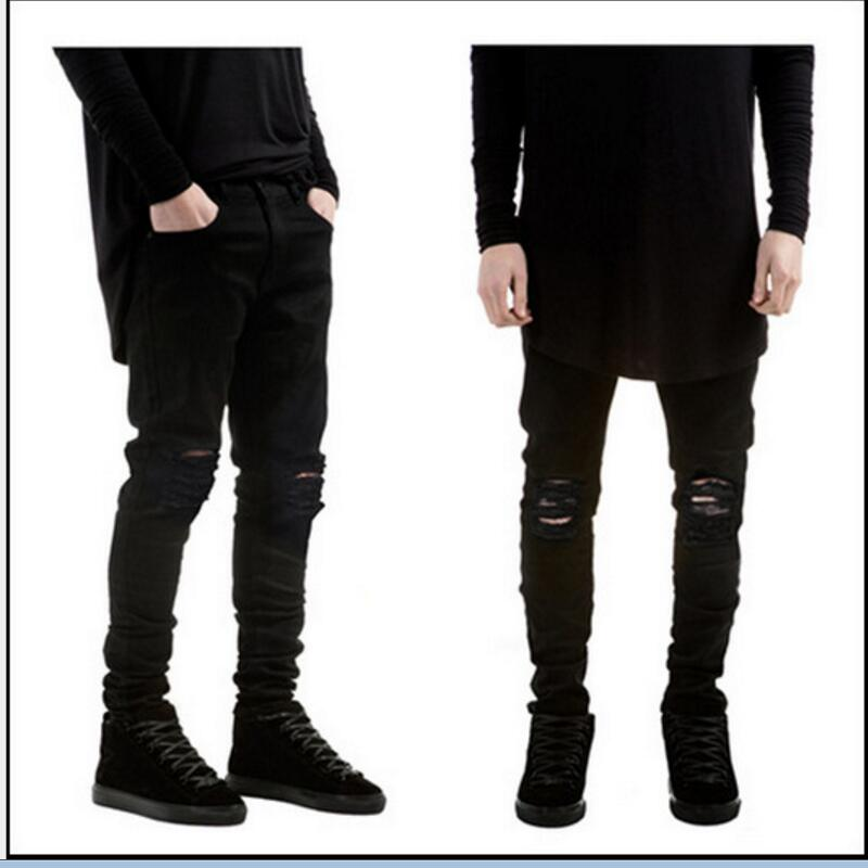 2017 Brand new men black jeans skinny ripped Stretch Slim fashion hip hop swag man casual denim biker pants thin stretch jeans ripped denim trousers slim skinny black jeans men new famous brand biker jeans elastic mens jeans l702