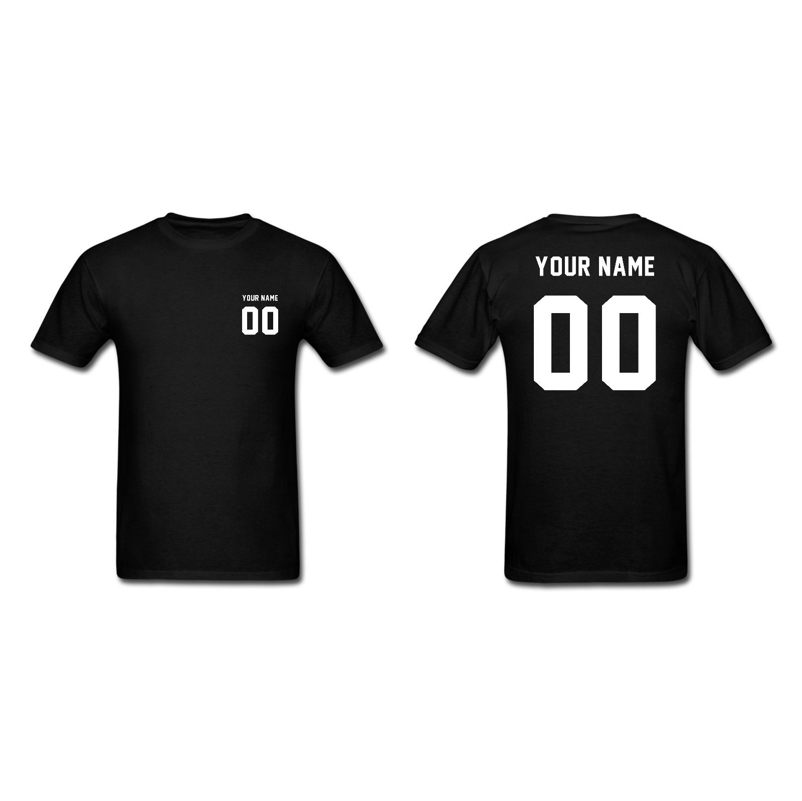 Black t shirt front and back - Custom Personalized Mens Cotton T Shirt Name And Number Print Front And Back Round Neck