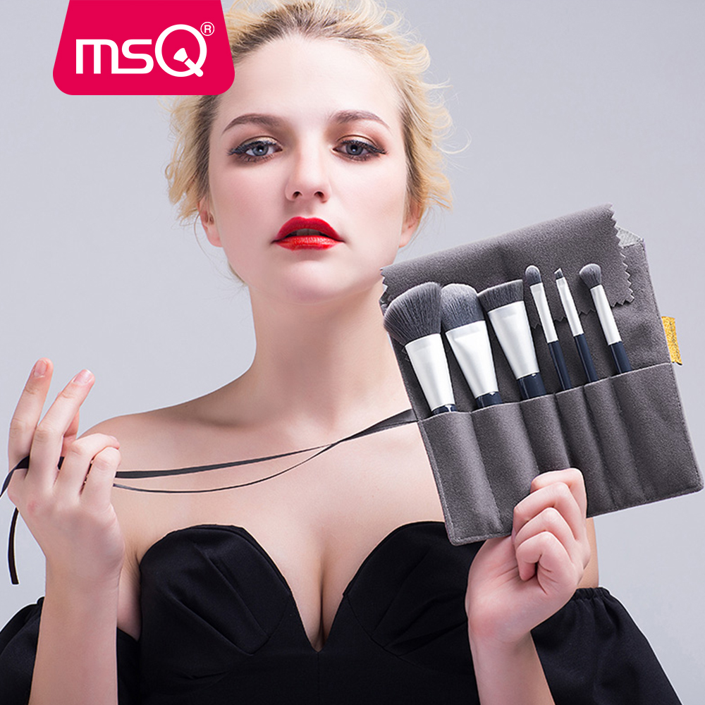 MSQ 6PCS Makeup Brush Set Professional Make Up Beauty Blush Foundation Contour Powder Cosmetics Brush Makeup Kit With A Bag hot msq new product single foundation black synthetic makeup brush big wood handle cosmetic make up kit free shipping