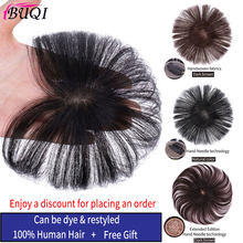 BUQI 10cm Seamless Invisibility Comfortable of True Hair Top Cover Brown and Black Color Brazilian Remy Hair for Black Women(China)