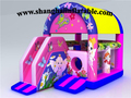 Розовый отказов дом и слайд-комбо надувные прыжки кровать воздуха батуте для детских прыгающий игры