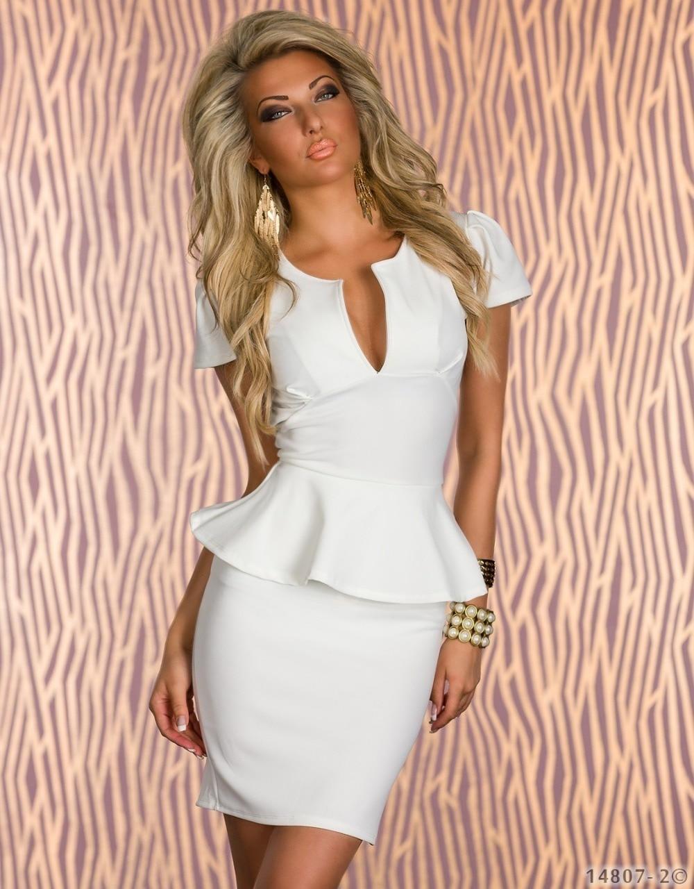 ML17883 Short Sleeve Women Bandage Bodycon Dress Office Lady OL Work Wear  Dress White Blue Rose Black Peplum Mini Dress 010a55e82c4f