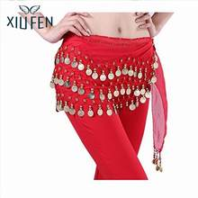 XIUFEN Fantastic Red Belly Dance Skirt Hip Scarf Waist chain Belly Chains ZK30(China)