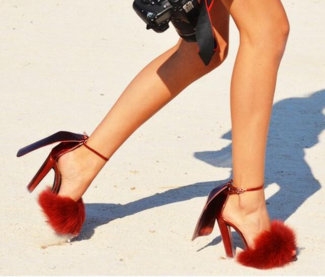 Mode Noir Peep as Vente Noce Talons Lapin Showed As Color Boucle Orteil Top Sandales Chaussures Color De Fourrure Cheville D'été Rouge Couverture Hauts À Pk8n0wO